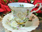 ROYAL ALBERT tea cup and saucer STUNNING WHITE PEACE ROSES GOLD GILT TRIM
