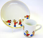 Clown-Around Circus Mug and 8 inch Plate Porcelain Gold Rim Dish Set Papel 1980s
