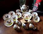 EARLY VICTORIAN ERA 18pc CHILD'S CHINA TEA SET~ HANDPAINTED ROOSTERS w/GOLD TRIM