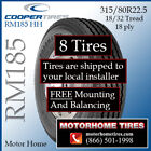315 80 225 Motor Home Tires Includes Shipping  Installation