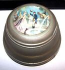 ANTIQUE MUSICAL METAL POWDER BOX MUSIC BOX VICTORIAN MAN AND WOMAN WORKS