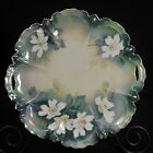 RS Germany CAKE PLATE Hand Painted Reticulated Handles White Flowers GOLD 9 7/8