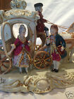 VINTAGE GERMAN DRESDEN STYLE PORCELAIN 4-HORSE WHITE CARRIAGE, SPECTACULAR PIECE