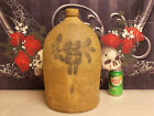 Antique 3 Gallon Stoneware Jug With Cobalt  Blue Floral Design / FREE SHIPPING !