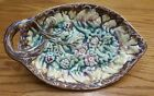 ANTIQUE MAJOLICA ETRUSCAN BEGONIA LEAF and FLOWERS PLATE TRAY DISH 8 x 5