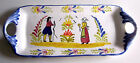 Ceramic Tray Folk Art Figures faux  Quimper French Country Handles Tin Glazed