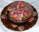 JAM SERVING DISH PLATE+COVER SARREGUEMINES France LEAF+STRAWBERRY MOTIF MAJOLICA