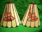 two leaded glass light or candle covers or shades