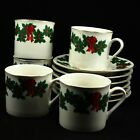 Libbey Holly Berry Ribbon Gold Rim Holiday Christmas 5 Cups and Saucers