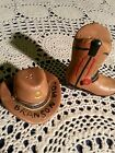 139 Cowboy hat and cowboy boot salt  pepper shakers Very Cute