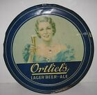 ORTLIEB'S LAGER BEER - ALE ROUND TIN SIGN with Lady