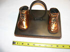 Bronzed Baby Shoes with Base and Picture Holder,Alice Ames, Inc. 1940's - 1950's
