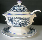 Blue White Floral Flowers Soup Tureen Royal Sealy Japan Underplate and Ladle