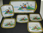 ANTIQUE NIPPON PORCELAIN PLATE TRAY SET HAND PAINTED PAGODA JAPAN JAPANESE 1920