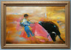Contemporary Oil Painting of Bullfighter Portrait in Wood Frame 30x42