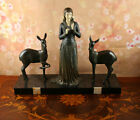 French Huge heavy Art Deco Sculpture Deco Lady and deer  signed MENNEVILLE 1920