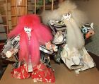 Japanese '70s KABUKI doll, program RENJISHI white & Red lion - 33 & 38cm (dolls)