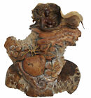 Eve & The Serpent Rick Cain Original US Hand Carved Burled Wood Sculpture Figure
