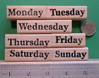 Days of the Week Rubber Stamp Set of 7 wood mounted