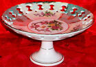 Vintage Collectible Ceramic Pedestal Relish Plate Hand Painted Canape Tray