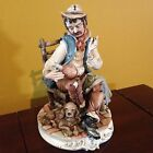 CAPODIMONTE Works of Art Italy Porcelain Figurine Man w/ Dog Meneghetti Signed