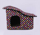 WARM WINTER COLORFUL DOTS Pet Kennel Bed Cozy Dog Cat Puppy bed Durable House M