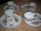 Set of 4 Shell-Shape Snack Plates & Cups (Crown - M - Japan) - Rose Pattern