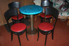 Retro Bar Pub Table & 4 Vintage Thonet Mundus Bentwood Chairs Round Wood & Metal