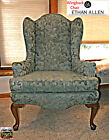 ETHAN ALLEN Traditional Wing Back Chair With Updated Upholstery