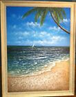 Original Painting Oil on Canvas Signed by K Hillman Beach SCENE 47.5