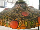 FINE ORIGINAL 1910 LEADED BENT GLASS NOVELTY CO. APPLE TREE SHADE INSTALLED 1910