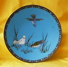 """11 ½"""" Japanese Cloisonne Platter with a design of 3 different birds 19th Century"""