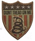 DON'T TREAD ON ME USA SNAKE SHIELD DTOM US XL DESERT BADGE VELCRO MORALE PATCH