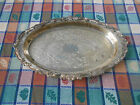 VTG Large Sheridan Silverplated Footed Patterned Serving Dish - Christmas Tray