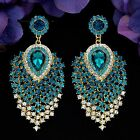18K Gold Plated Blue Crystal Peacock Feathers Drop Dangle Earrings 04677 Prom