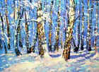 Birch forest  - PALETTE KNIFE Oil Painting On Canvas By Dmitry Spiros. 32