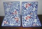 4 Pier 1 Butterfly Blossom Cobalt Blue Hand Painted Sushi Appetizer Plates-MINT