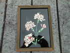 1920s Reverse Patinted on Glass Foil Back Floral Painting