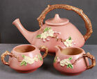 Vintage Roseville Apple Blossom Teapot, Creamer & Sugar  Hard to find Pink Color