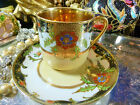 JEWELLED DEMITASSE CUP AND SAUCER  HEAVY RAISED GOLD  GILT HAND PAINTED FAB