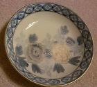 Kutani Porcelain Bowl with Blue and Gold Hand Painted Flowers - Vintage Japan