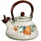 Corelle ABUNDANCE Harvest Fruit 2.2 Qt. WHISTLING TEA KETTLE Enamel on Steel NEW
