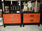 Bedside Cabinets Oriental Brass Drawer Pulls Orange Black Lacquer 28x16x24