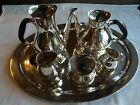 6 Piece Modernistic  Coffee or Tea Set by Cohr Denmark W/ Tray Nice EPNS
