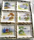 Japanese Mini Porcelain Hand Painted Pictures-Landscape, Set of 6, VINTAGE,NIB