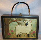 Vintage 1969 Original Hand Carved Wood Box Purse-Wooly Lamb-Signed Jay Gee-TEXAS