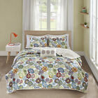 BEAUTIFUL MODERN  BLUE TEAL AQUA RED PURPLE TROPICAL EXOTIC WHITE SOFT QUILT SET