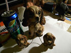 3 Vintage COCKER SPANIEL, Mom with 2 Babies, Chained, Ceramic Figurines