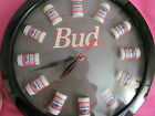 BUDWEISER ANHEUSER-BUSCH BEER WALL CLOCK~BEER CANS ARE THE NUMBERS~BAR CLOCK