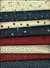 Moda Sandy Gervais Red White & Free Cotton Quilt Fabric  (8) 1/2 yd cuts NEW!